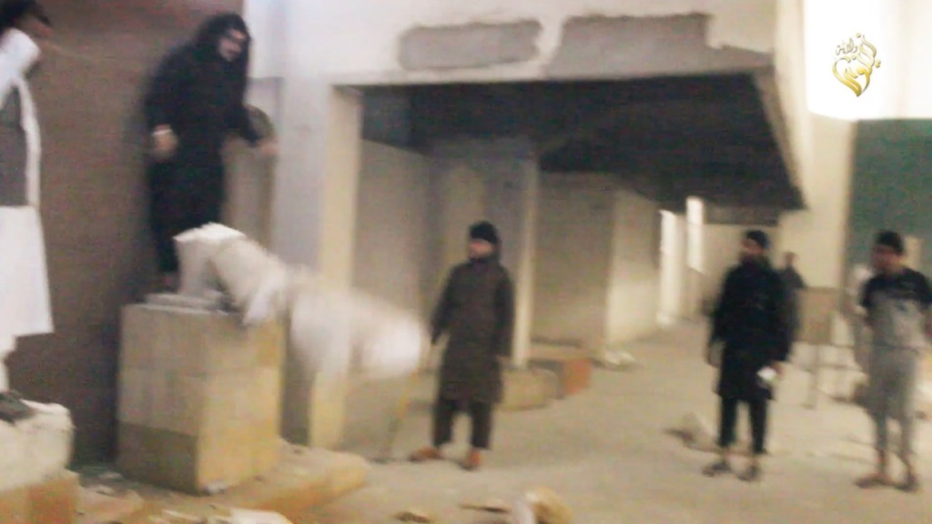 Destruction of artefacts and reproductions in Mosul Museum by Islamic State (MediaFire, 00h02m47s a, 26th February 2015)