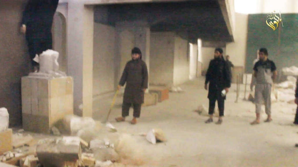 Destruction of artefacts and reproductions in Mosul Museum by Islamic State (MediaFire, 00h02m47s b, 26th February 2015)