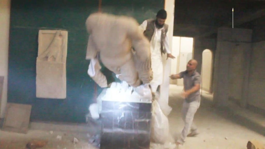 Destruction of artefacts and reproductions in Mosul Museum by Islamic State (MediaFire, 00h02m48s, 26th February 2015)