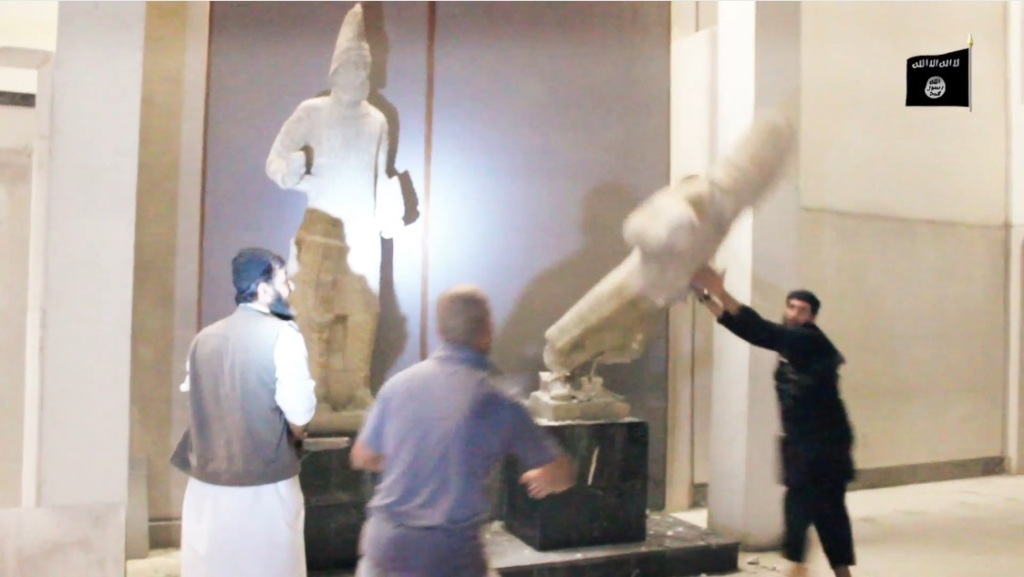 Destruction of artefacts and reproductions in Mosul Museum by Islamic State (MediaFire, 00h02m50s, 26th February 2015)