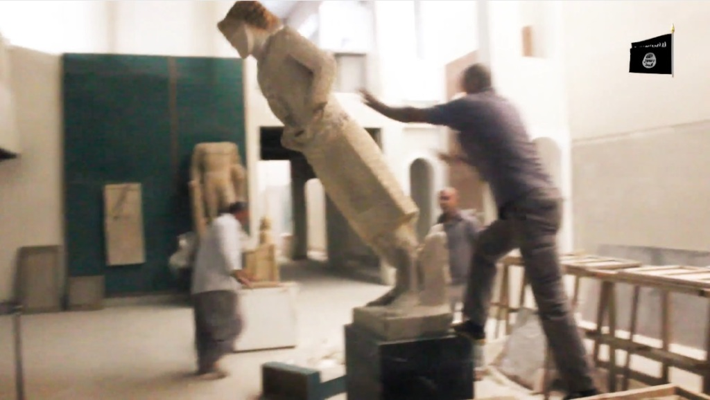 Destruction of artefacts and reproductions in Mosul Museum by Islamic State (MediaFire, 00h02m53s, 26th February 2015)