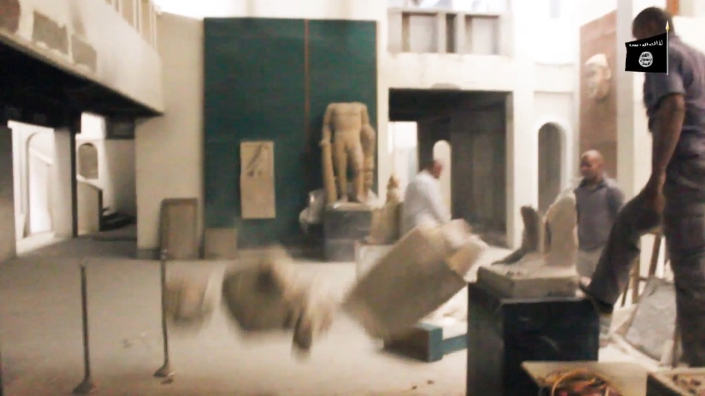 Destruction of artefacts and reproductions in Mosul Museum by Islamic State (MediaFire, 00h02m54s, 26th February 2015)