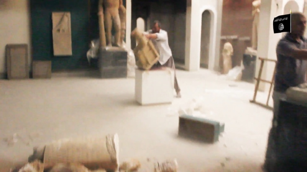 Destruction of artefacts and reproductions in Mosul Museum by Islamic State (MediaFire, 00h02m55s, 26th February 2015)
