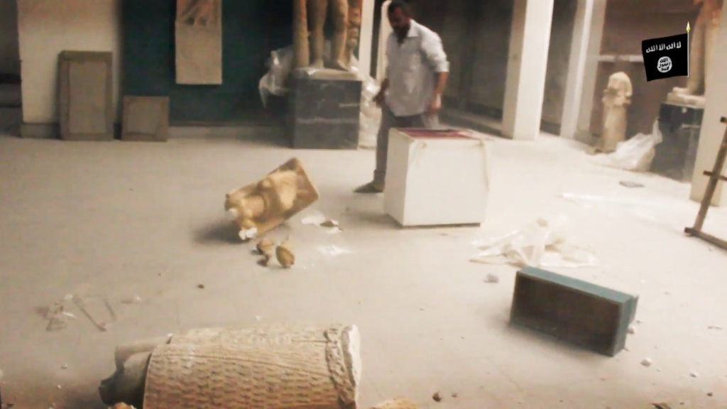 Destruction of artefacts and reproductions in Mosul Museum by Islamic State (MediaFire, 00h02m56s, 26th February 2015)