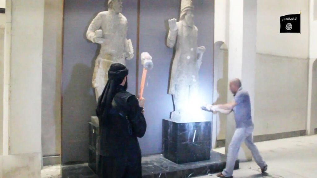 Destruction of artefacts and reproductions in Mosul Museum by Islamic State (MediaFire, 00h02m58s, 26th February 2015)