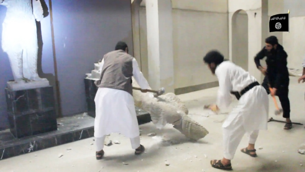 Destruction of artefacts and reproductions in Mosul Museum by Islamic State (MediaFire, 00h03m02s, 26th February 2015)