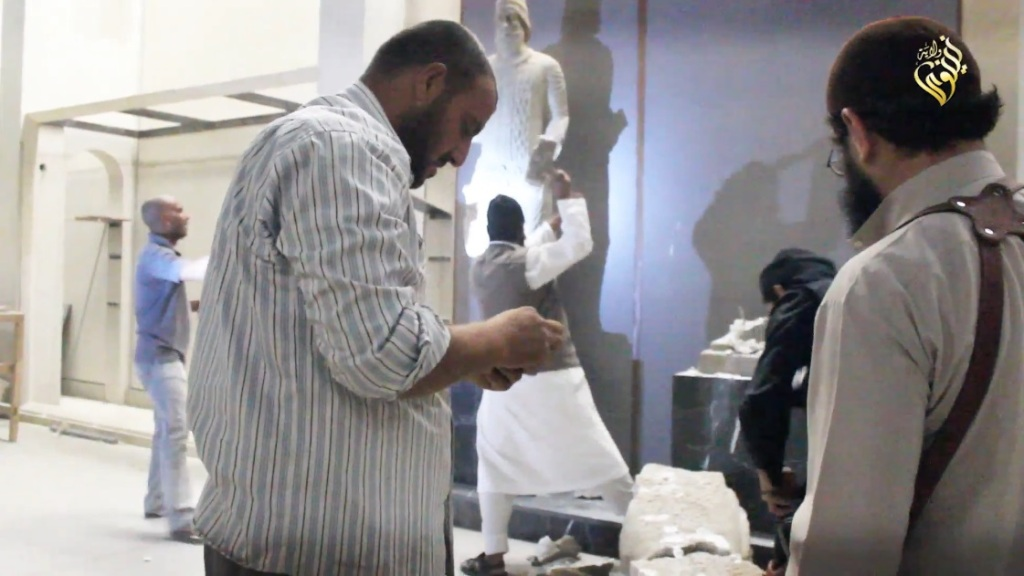 Destruction of artefacts and reproductions in Mosul Museum by Islamic State (MediaFire, 00h03m08s, 26th February 2015)