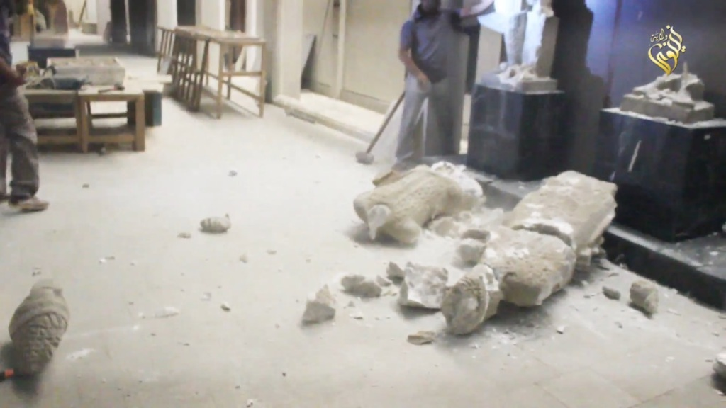 Destruction of artefacts and reproductions in Mosul Museum by Islamic State (MediaFire, 00h03m11s, 26th February 2015)