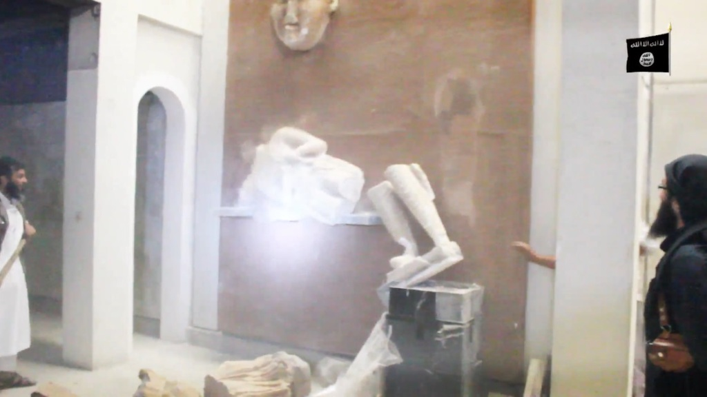 Destruction of artefacts and reproductions in Mosul Museum by Islamic State (MediaFire, 00h03m16s b, 26th February 2015)