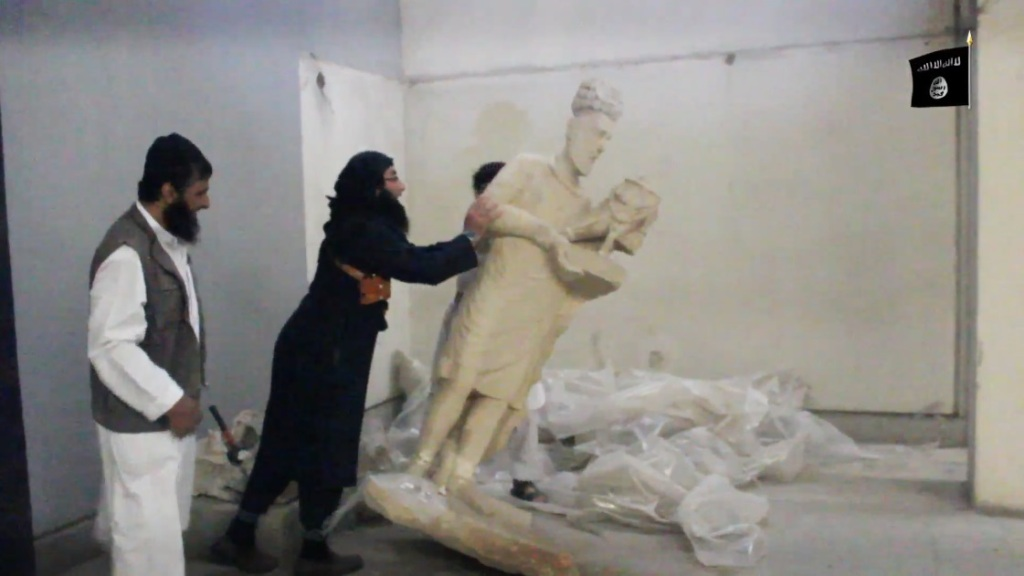 Destruction of artefacts and reproductions in Mosul Museum by Islamic State (MediaFire, 00h03m20s, 26th February 2015)