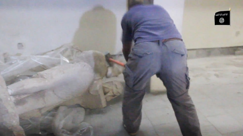 Destruction of artefacts and reproductions in Mosul Museum by Islamic State (MediaFire, 00h03m28s, 26th February 2015)