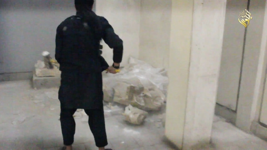 Destruction of artefacts and reproductions in Mosul Museum by Islamic State (MediaFire, 00h03m34s, 26th February 2015)