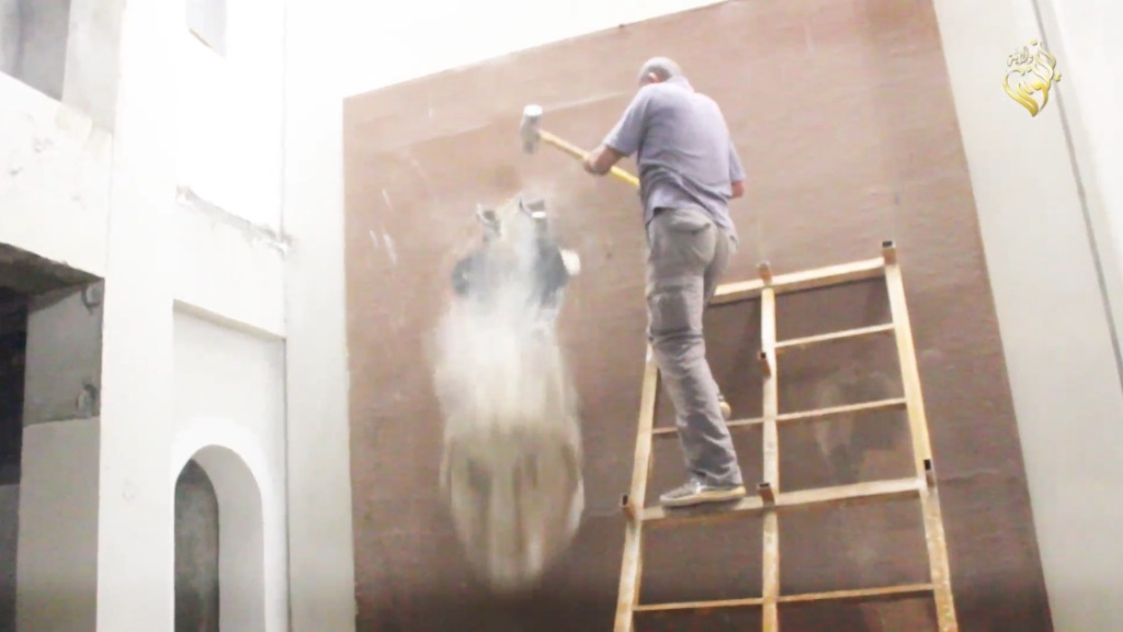 Destruction of artefacts and reproductions in Mosul Museum by Islamic State (MediaFire, 00h03m38s, 26th February 2015)