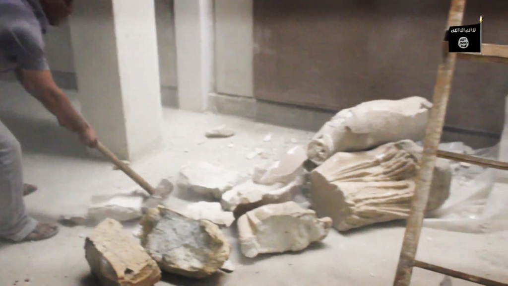 Destruction of artefacts and reproductions in Mosul Museum by Islamic State (MediaFire, 00h03m41s, 26th February 2015)