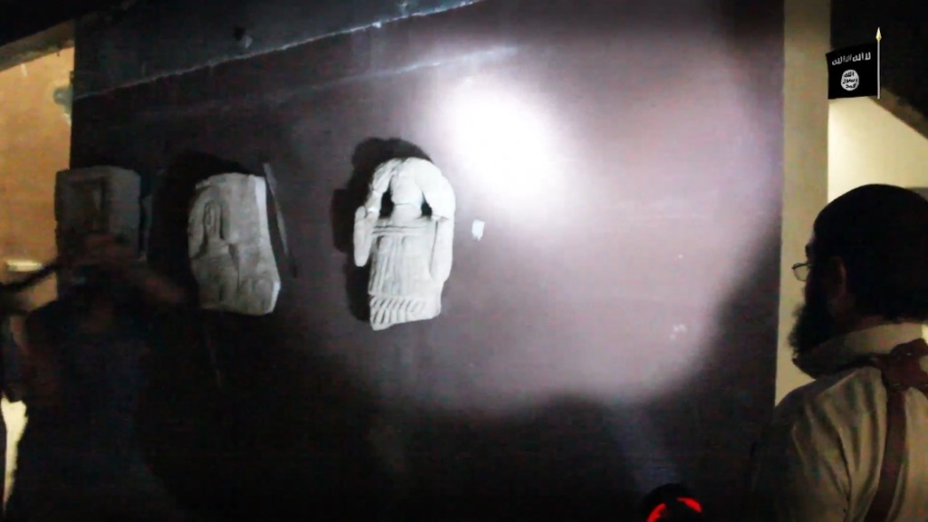 Destruction of artefacts and reproductions in Mosul Museum by Islamic State (MediaFire, 00h03m47s, 26th February 2015)