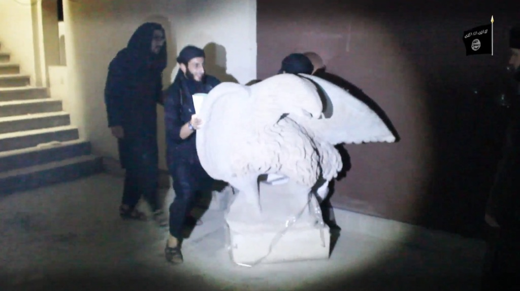 Destruction of artefacts and reproductions in Mosul Museum by Islamic State (MediaFire, 00h03m53s, 26th February 2015)