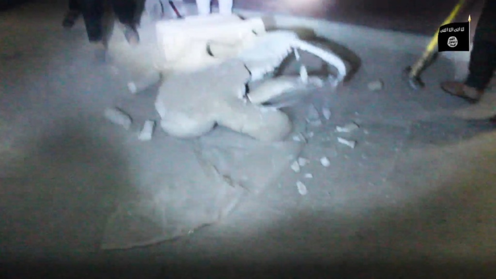 Destruction of artefacts and reproductions in Mosul Museum by Islamic State (MediaFire, 00h03m54s, 26th February 2015)
