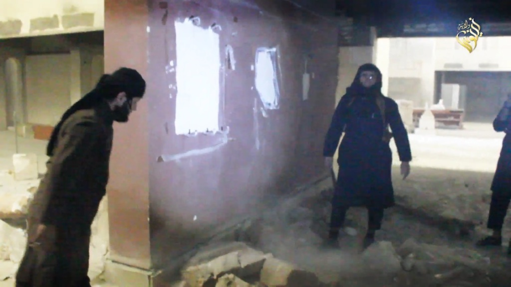 Destruction of artefacts and reproductions in Mosul Museum by Islamic State (MediaFire, 00h03m58s a, 26th February 2015)