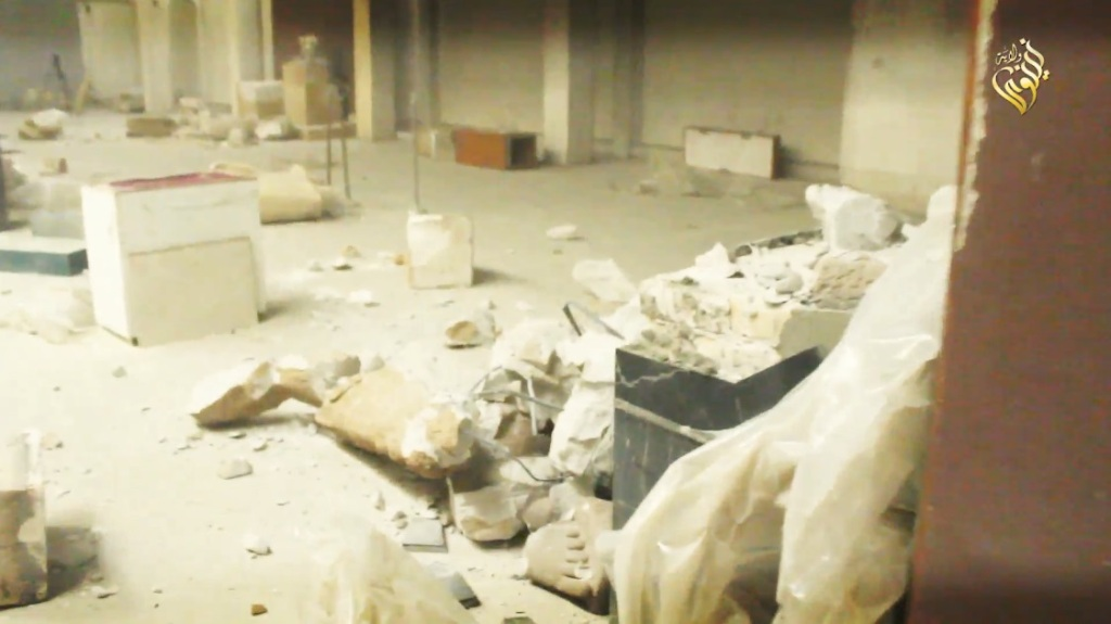 Destruction of artefacts and reproductions in Mosul Museum by Islamic State (MediaFire, 00h03m58s b, 26th February 2015)
