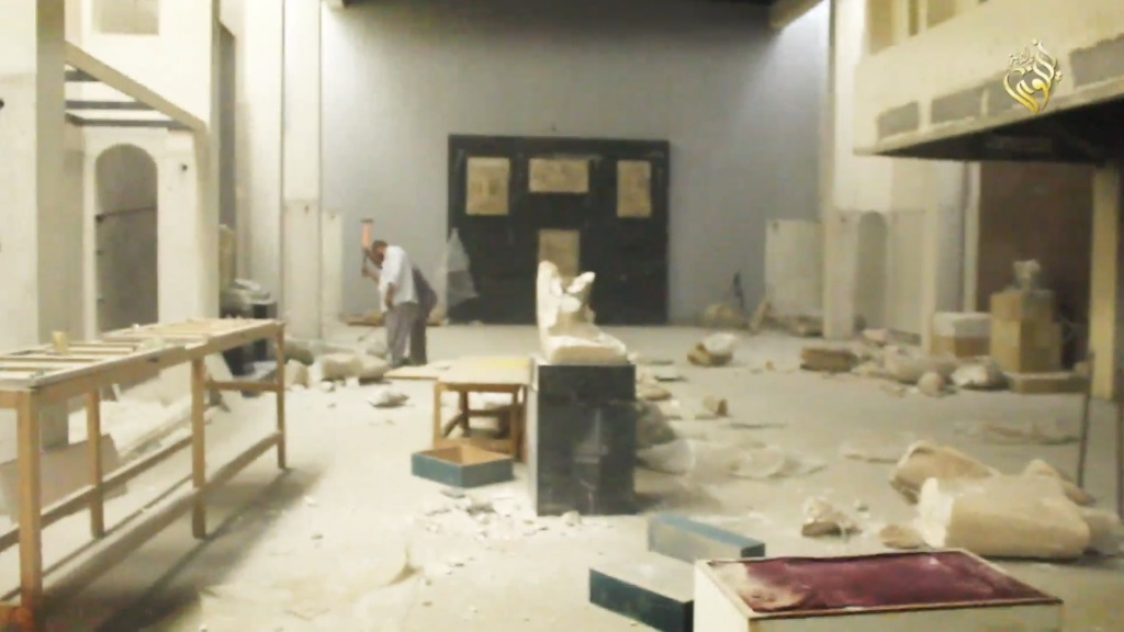 Destruction of artefacts and reproductions in Mosul Museum by Islamic State (MediaFire, 00h04m02s, 26th February 2015)