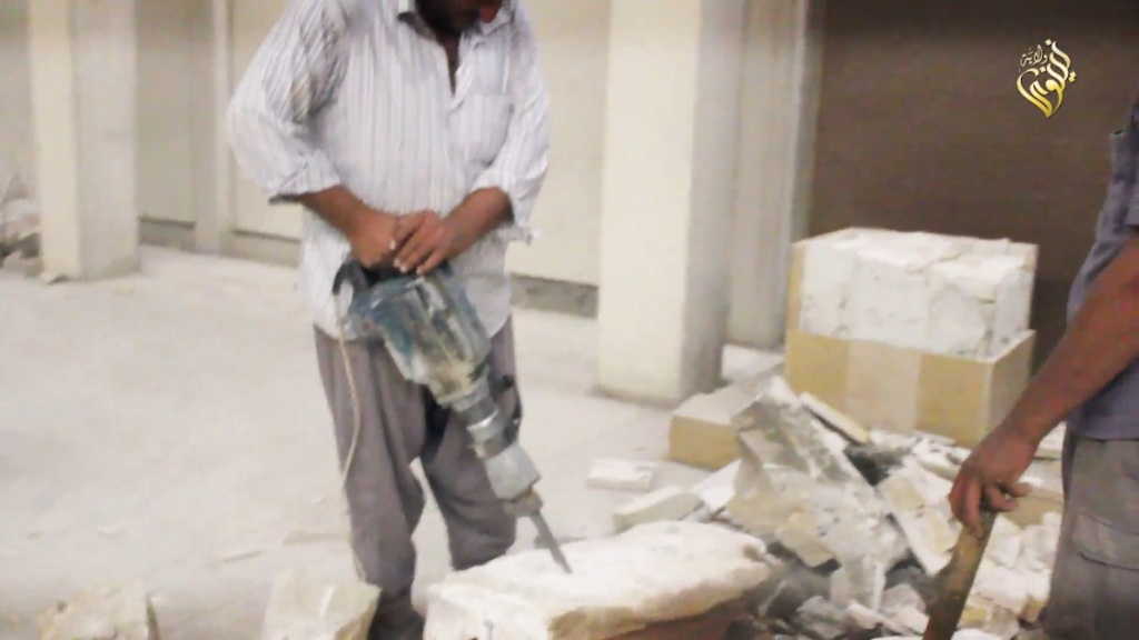 Destruction of artefacts and reproductions in Mosul Museum by Islamic State (MediaFire, 00h04m04s, 26th February 2015)