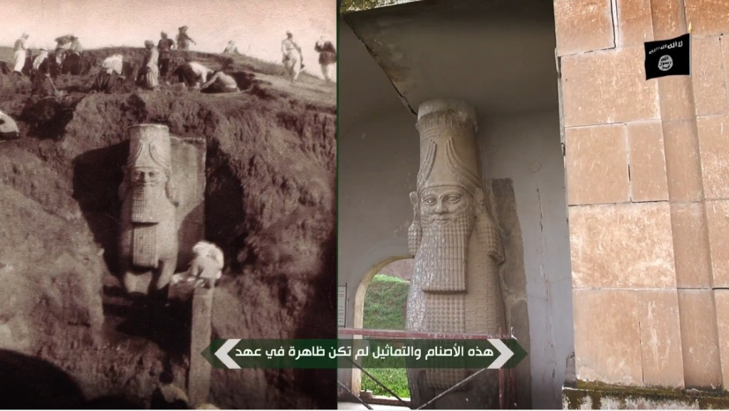 Destruction of artefacts and reproductions in Mosul Museum by Islamic State (MediaFire, 00h04m15s, 26th February 2015)