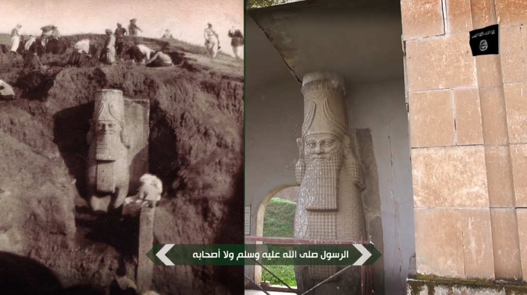 Destruction of artefacts and reproductions in Mosul Museum by Islamic State (MediaFire, 00h04m18s, 26th February 2015)