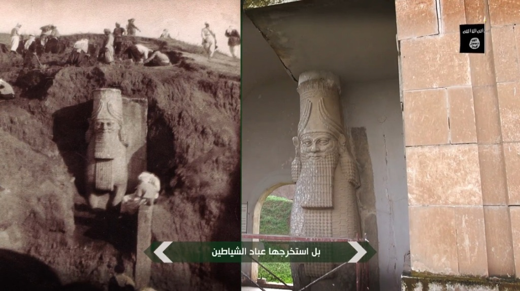Destruction of artefacts and reproductions in Mosul Museum by Islamic State (MediaFire, 00h04m20s, 26th February 2015)