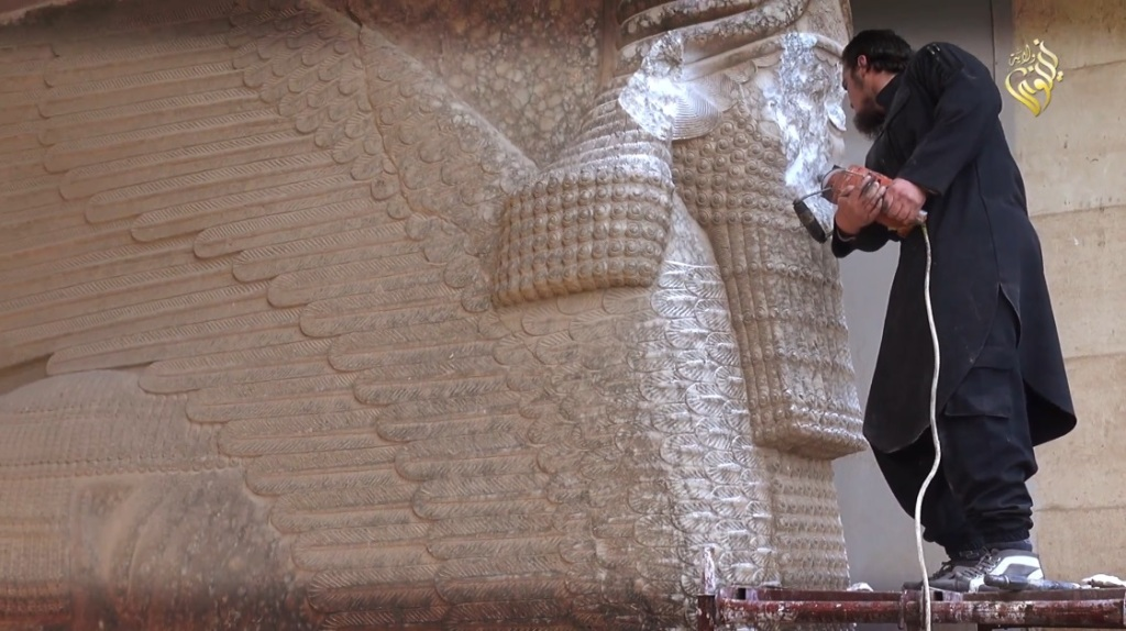 Destruction of artefacts and reproductions in Mosul Museum by Islamic State (MediaFire, 00h04m28s, 26th February 2015)