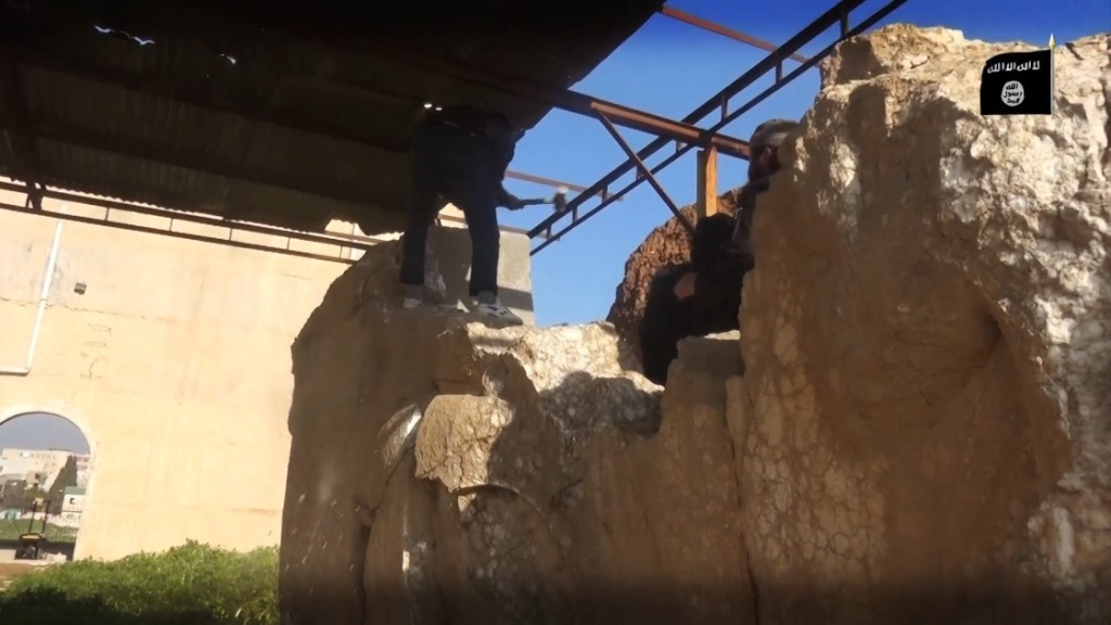 Destruction of artefacts and reproductions in Mosul Museum by Islamic State (MediaFire, 00h04m33s, 26th February 2015)