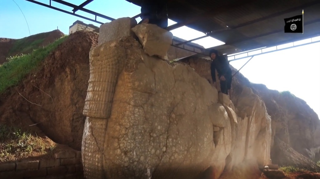 Destruction of artefacts and reproductions in Mosul Museum by Islamic State (MediaFire, 00h04m35s, 26th February 2015)