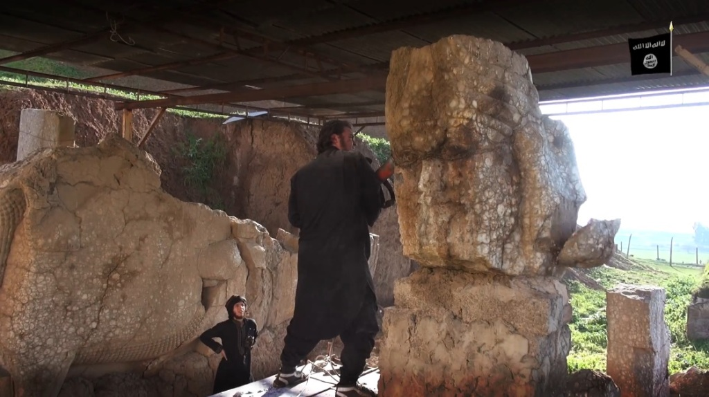 Destruction of artefacts and reproductions in Mosul Museum by Islamic State (MediaFire, 00h04m44s, 26th February 2015)