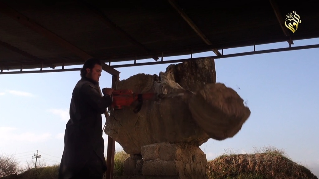 Destruction of artefacts and reproductions in Mosul Museum by Islamic State (MediaFire, 00h04m55s, 26th February 2015)