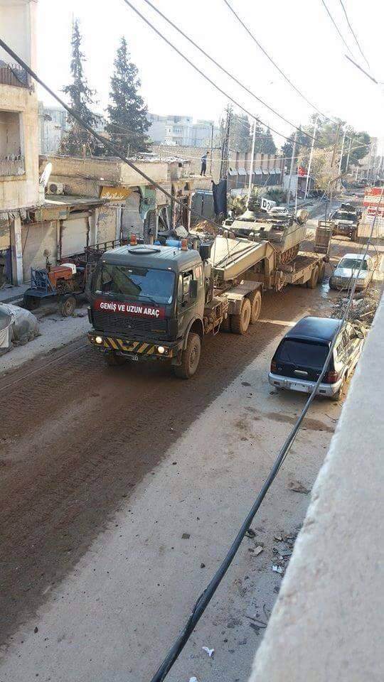 'More photos #Turkish military convoy back to #Turkey inside #Kurdish #Kobani this morning under supervision of #YPG' (c) Jack Shahine, Twitter, 22nd February 2015