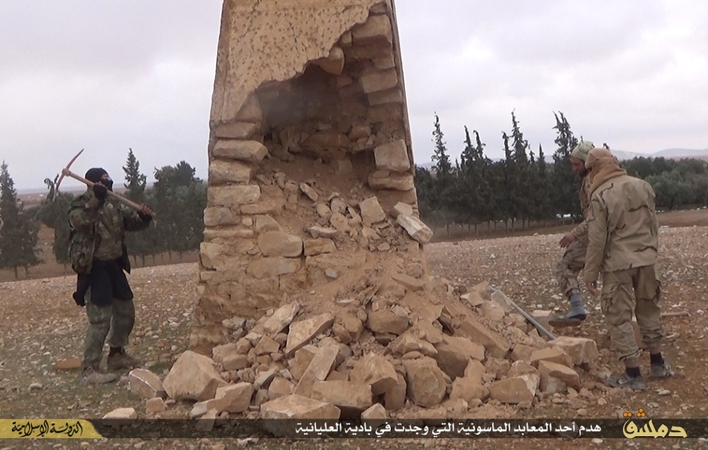 demolition of a temple in Alalianih under Islamic State rule