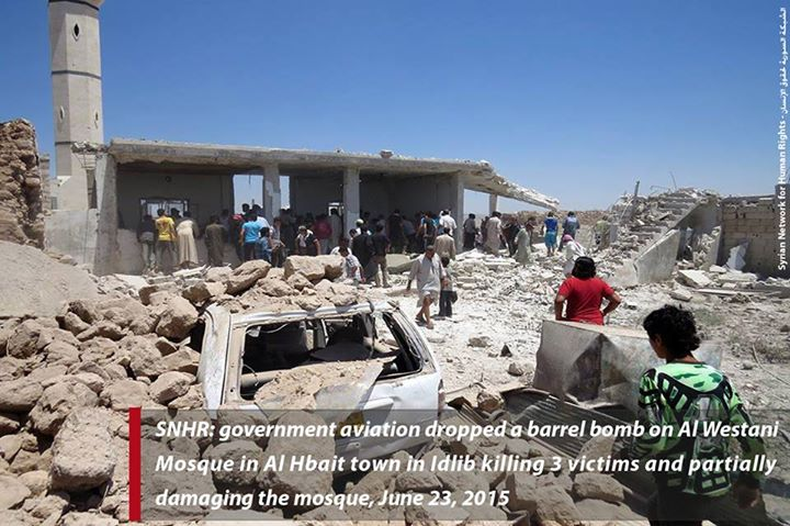 Al Westani mosque, Al Hbait town, Idlib province, Syria (Syrian Network for Human Rights, Shaam News Network, Facebook, 23rd June 2015)