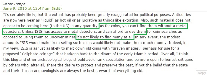 'As for coins, you can't find them without a metal detectors.' (Peter Tompa, Conflict Antiquities, 9th June 2015)