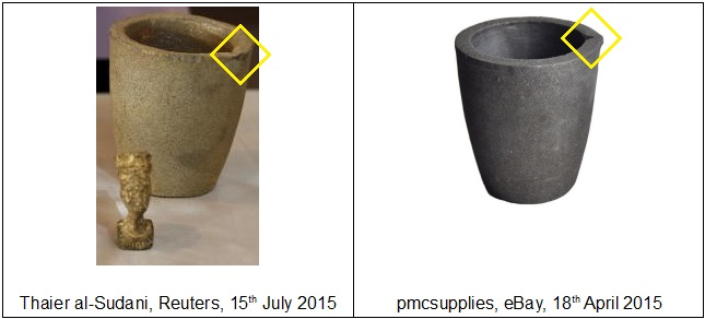 A comparison of object photographed by Thaier al-Sudani, Reuters, 15th July 2015 with crucible auctioned by pmcsupplies, eBay, 18th April 2015