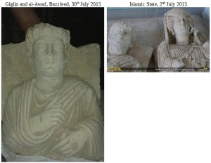 A comparison of an object found by a looter in Palmyra (via Giglio and al-Awad, Buzzfeed, 30th July 2015) and an object in Islamic State propaganda