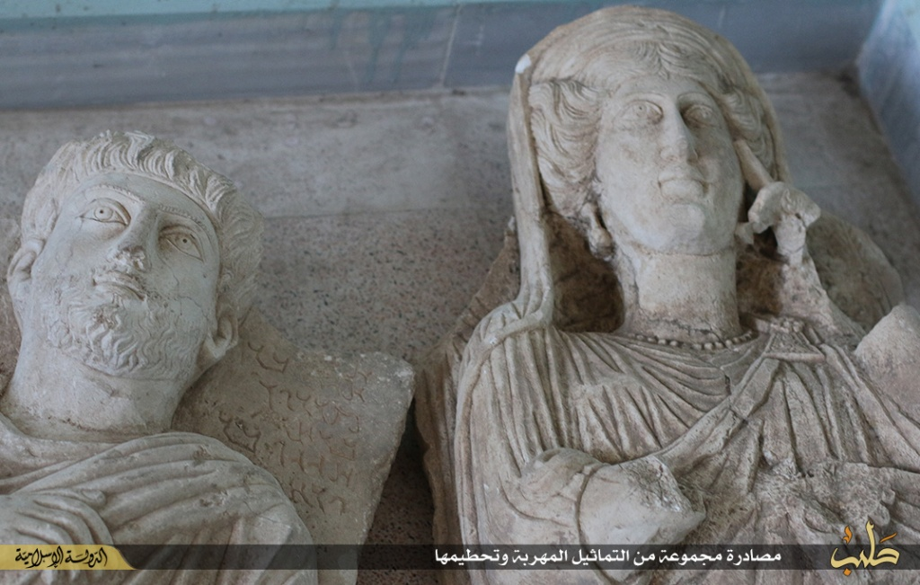 Islamic State destruction of statues from Palmyra, Syria, 2nd July 2015 (150702 b)