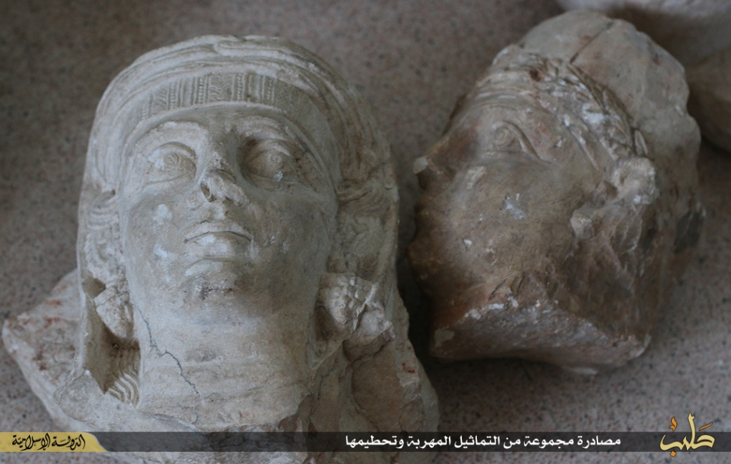 Islamic State destruction of statues from Palmyra, Syria, 2nd July 2015 (150702 c)