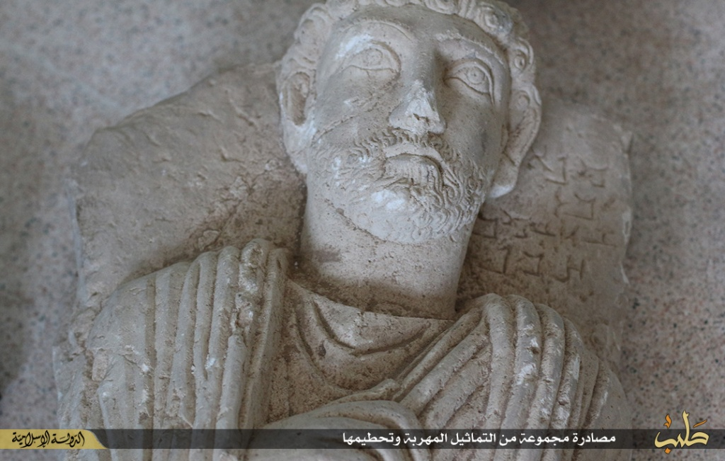 Islamic State destruction of statues from Palmyra, Syria, 2nd July 2015 (150702 d)