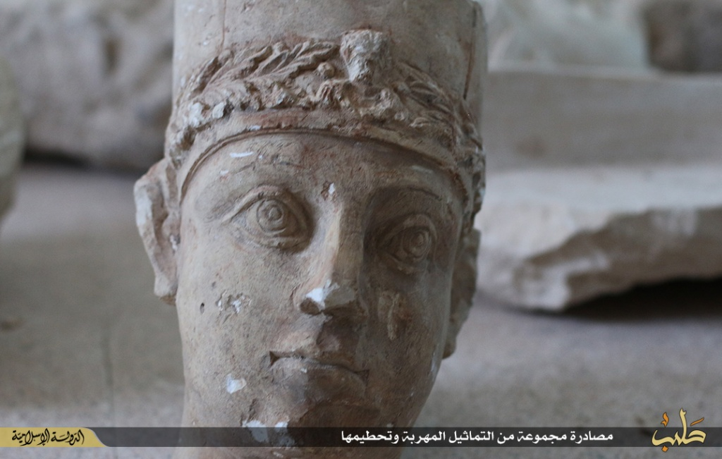Islamic State destruction of statues from Palmyra, Syria, 2nd July 2015 (150702 e)