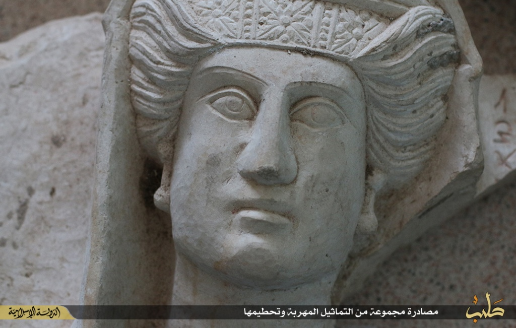 Islamic State destruction of statues from Palmyra, Syria, 2nd July 2015 (150702 f)