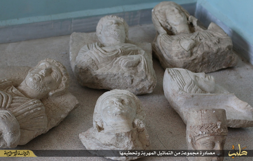 Islamic State destruction of statues from Palmyra, Syria, 2nd July 2015 (150702 g)