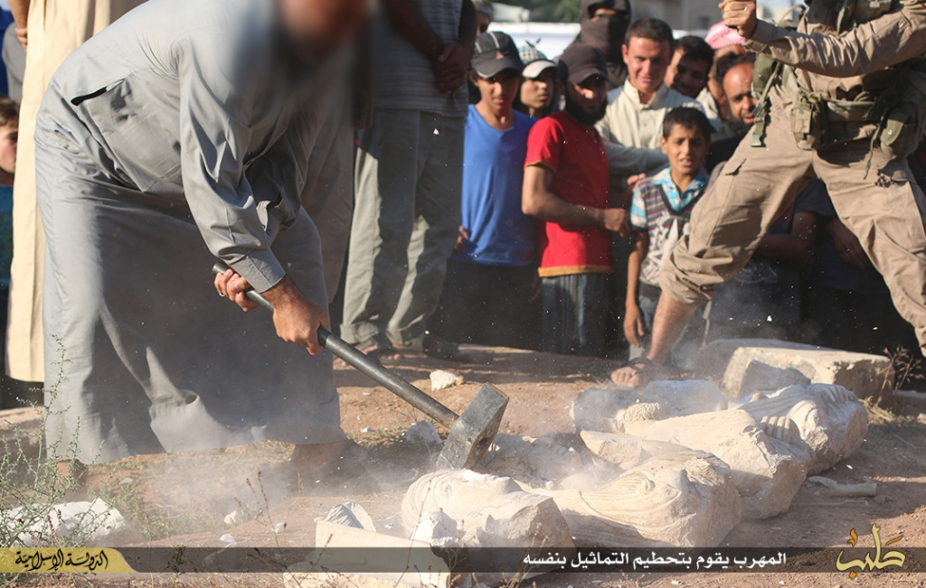 Islamic State destruction of statues from Palmyra, Syria, 2nd July 2015 (150702 o)