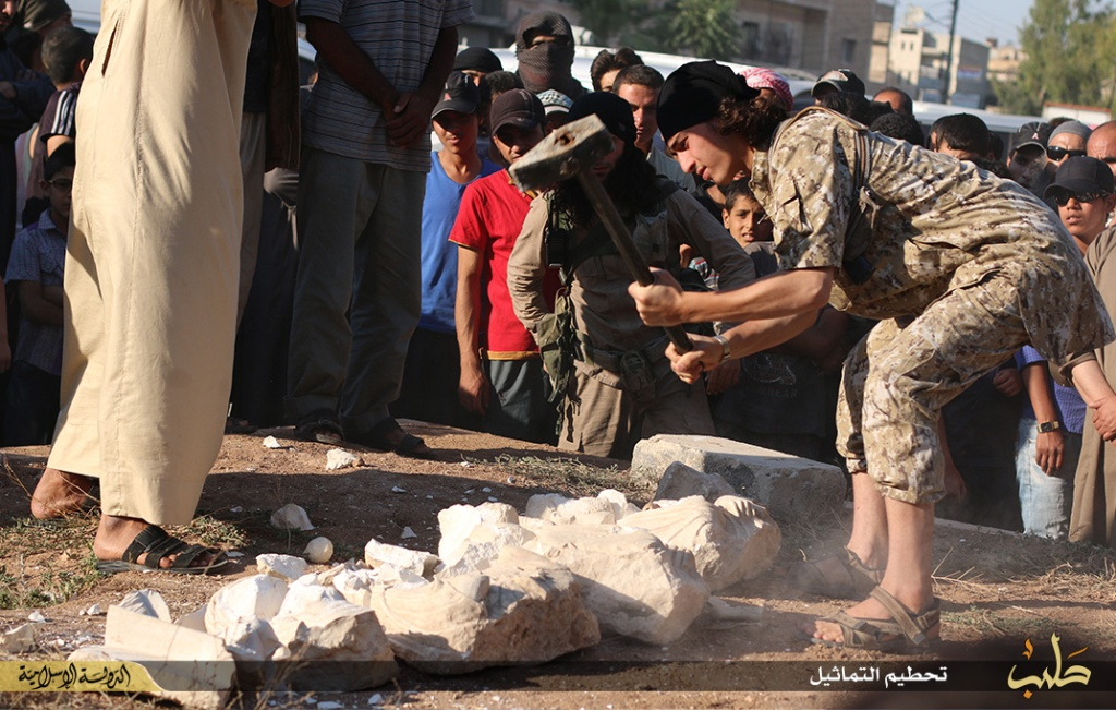 Islamic State destruction of statues from Palmyra, Syria, 2nd July 2015 (150702 q)