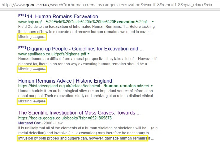 Google search results for human remains, augers, excavation