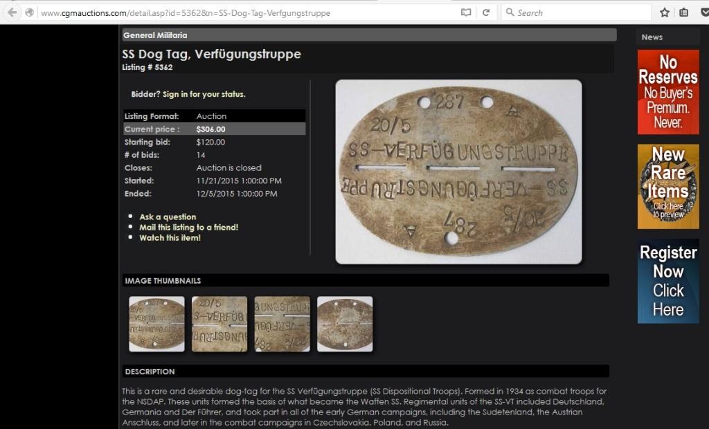 SS Dog Tag, Verfügungstruppe, Listing 5362, History Hunter Auctions, 21st November 2015