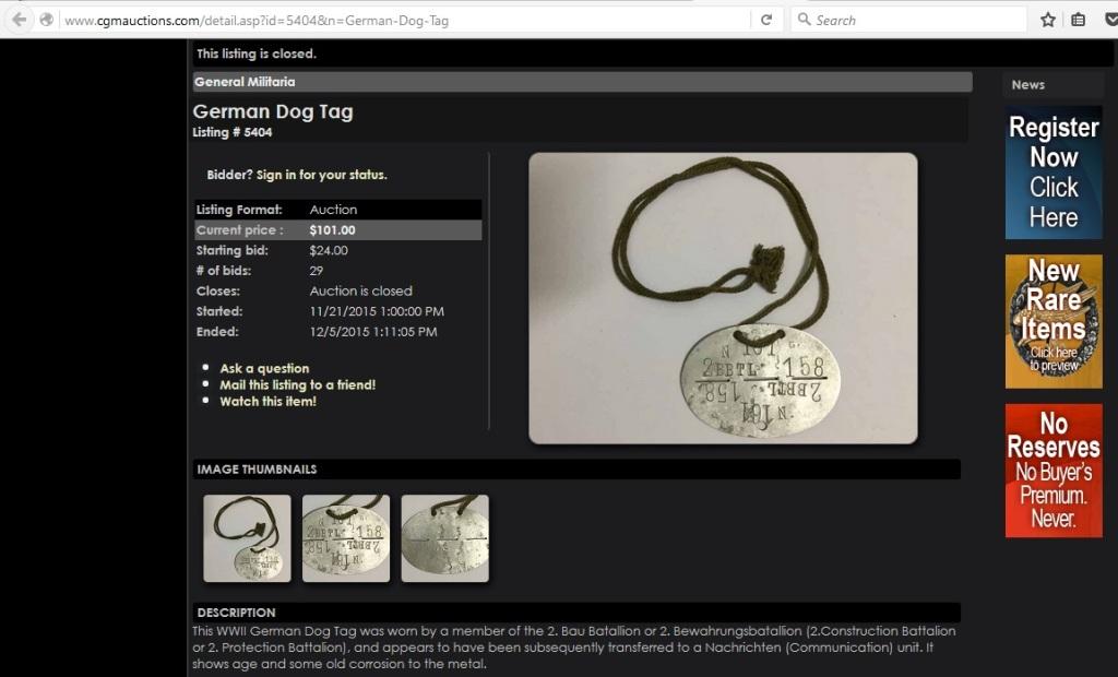 German Dog Tag, Listing 5404, History Hunter Auctions, 21st November 2015